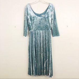 Eva Mendes Pleated Velvet Dress